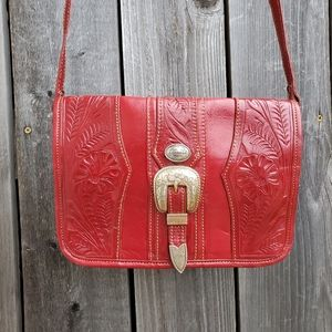 American West Red Hand Tooled Buckle Bag